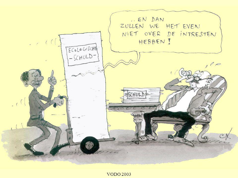 In het Milieu- en natuurrapport Vlaanderen (uitgegeven door de Vlaamse Milieu Maatschappij) van 2000 staat te lezen: Vandaag is de totaal geëxporteerde biomassa van ontwikkelings- naar geïndustrialiseerde landen ongeveer het tienvoudige van in het koloniale tijdperk. De ontginning van grondstoffen voor export laat ecologische sporen na. [...] Armoede en ecologische vernietiging worden mede veroorzaakt door de ongelijke Noord-Zuid verhoudingen.